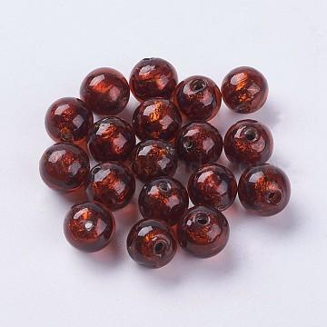 10mm DarkRed Round Silver Foil Beads