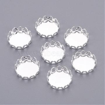 Silver Color Plated Brass Blank Base Flat Round Lace Edge Bezel Cups, Cabochon Settings, Cadmium Free & Lead Free, Tray: 10mm(X-KK-C1764-3-S)
