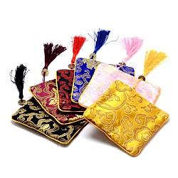 Pochettes de soie rectangle, avec des perles de pièces de monnaie et des décorations pompon, couleur mixte, 12x12x0.4 cm(ABAG-N007-01)