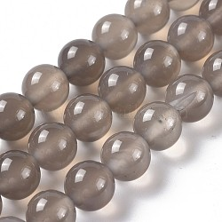Natural Gray Agate Bead Strands, Round, Grade A, 8mm, Hole: 1mm; about 48pcs/strand, 15.7inches