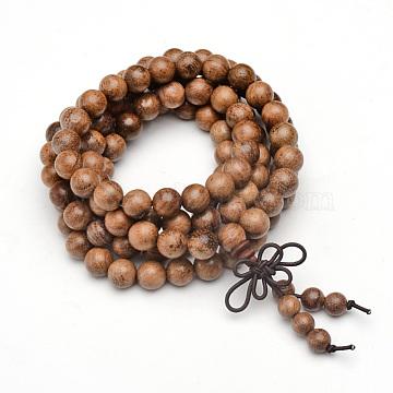 5-Loop Wrap Style Buddhist Jewelry, Wood Mala Bead Bracelets/Necklaces, Round, Camel, 34-5/8 inches(88cm)(BJEW-S125-22)