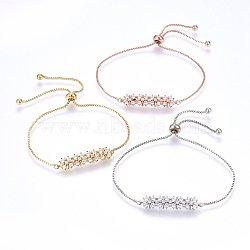 """Bracelets réglables en laiton à micro-pavé de zircons cubiques, Bracelets coulissants, fleurs, clair, couleur mixte, 10-5/8"""" (27cm); 1.2mm(BJEW-H583-32)"""