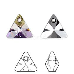 pendentif en strass cristal autrichien, 6628, passions de cristal, xilion triangle, 001 cvl_crystal Vitrail Light, 12x12x7 mm, trou: 1.5 mm(X-6628-12mm-001CVL(P))