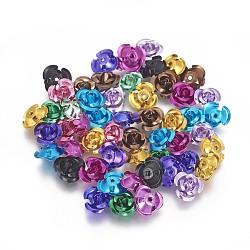 Aluminum Beads, 3-Petal Flower, Mixed Color, 8.5~9x4.5mm, Hole: 1mm; about 950pcs/bag(FALUM-T001-01B-M)