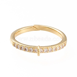 Brass Cuff Finger Ring Settings, Loop Ring Base, with Micro Pave Clear Cubic Zirconia, Long-Lasting Plated, Golden, Size 7,  17mm, Hole: 1x1.5mm(X-KK-L155-34G)