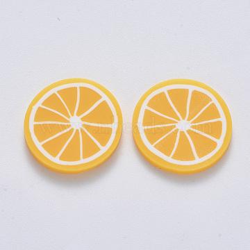 Handmade Polymer Clay Cabochons, Lemon, Orange, 19~20.5x2~2.5mm(X-CLAY-R084-08A)