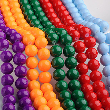 8mm Mixed Color Round Glass Beads