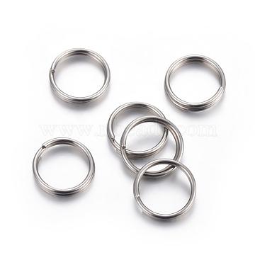 304 Stainless Steel Split Rings, Stainless Steel Color, 12x2mm, Inner Diameter: 10mm, Single Wire: 1mm(STAS-P223-22P-07)