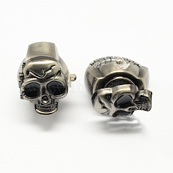 Iron Stretch Ring Quartz Watches, with Enamel Alloy Skull, Gunmetal, 18mm; skull: 24x20mm; watch face: 12mm(RJEW-R119-01B)