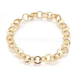 """Bracelets avec chaîne de câble en 304 acier inoxydable, avec fermoir pince de homard, or, 8-3/8"""" (21.1 cm), 9mm(BJEW-P237-22G)"""