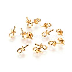 Placage sous vide 304 tasses en acier inoxydable perle cheville bails broches pendentifs, pour la moitié de perles percées, or, 7x3mm, trou: 1.5 mm; broches: 0.7 mm(STAS-I120-56-G)