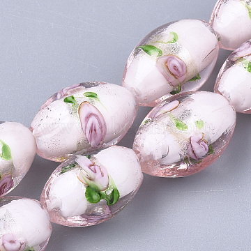 16mm Pink Oval Silver Foil Beads