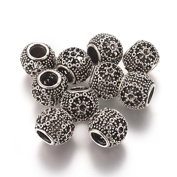 Antique Silver Round Alloy Beads