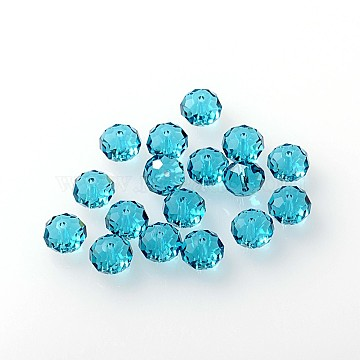 Austrian Crystal Beads, 5040 8mm, Faceted Rondelle, Sky Blue, Size: about 8mm in diameter, 6mm thick, hole: 1mm(5040_8mm379)