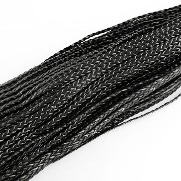 Braided Imitation Leather Cords, Herringbone Bracelet Findings, Black, 5x2mm, about 109.36 yards(100m)/bundle(LC-S002-5mm-02)