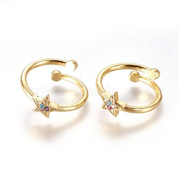Colorful Brass+Cubic Zirconia Finger Rings
