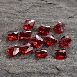 perles de cristal autrichien, 5053, passions de cristal, mini-carré à facettes, 208 _siam, 6x6 mm, trou: 1 mm(X-5053-6mm-208(U))