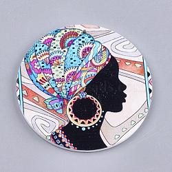Gros pendentifs en bois imprimés, teint, plat rond à tête humaine, colorées, 60x2.5mm, Trou: 1.5mm(X-WOOD-S048-36)