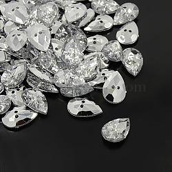 boutons en strass acrylique, 2-trou, facettes et dos plaqué argent, déposer, effacer, 30x20x8 mm, trou: 2 mm(X-BUTT-A020-20x30mm-01)