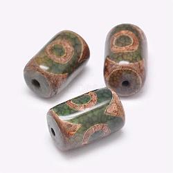 Perles de style tibétain, Perles d'agate naturelles, teints et chauffée, colonne, darkolivegreen, 20~25x13~16mm, Trou: 2.5~3mm(TDZI-G009-B27)