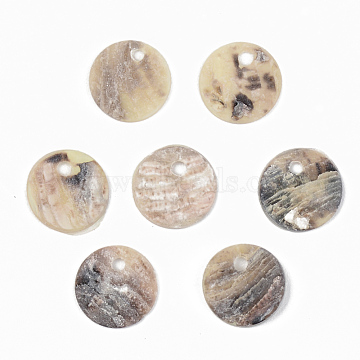 Natural Akoya Shell Charms, Mother of Pearl Shell Charms, Flat Round, PeachPuff, 9x1mm, Hole: 1.4mm(X-SHEL-R048-027)