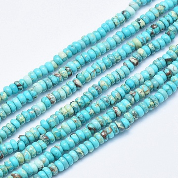 Natural Imperial Jasper Beads Strands, Dyed, Rondelle, Sky Blue, 4~4.5x2~3mm, Hole: 1.5mm; about 160pcs/strand, 15.7 inches(40cm)(G-E445-4mm-03)