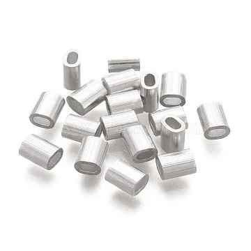 Oval Aluminum Sleeves Clamps, for Wire Rope Swage Clip, Stainless Steel Color, 5x4x3mm, Hole: 1x2mm(STAS-F258-02P)