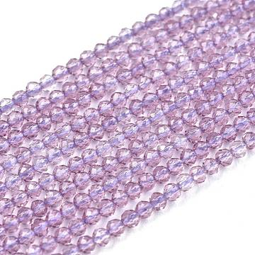 Glass Beads Strands, Imitation Quartz, Faceted, Round, Lilac, 2mm, Hole: 0.5mm,  about 175pcs/strand, 14.9 inches(38cm)(G-K185-16O)