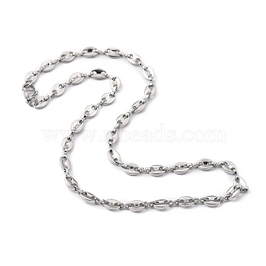 304 Stainless Steel Coffee Bean Chain Necklaces(NJEW-JN03083-01)-1