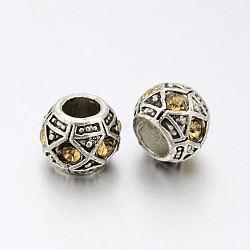 Perles européennes en alliage plaqué argent antique avec strass, perles de rondelle avec grand trou , lt.col.topaz, 10x8mm, Trou: 5mm(CPDL-J031-14AS)