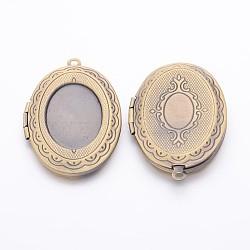 Romantiques idées de jour de valentines pour lui avec vos laiton pendentifs photo médaillon, breloques de cadre de photo pour le collier, bronze antique, ovale, 23x32mm, intérieur: 13x18 mm, Trou: 2mm(X-ECF133-3AB)