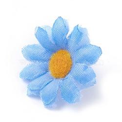 tournesol en tissu de soie, tête de fleur artificielle, pour la décoration de fête de mariage, skyblue, 40x16~17 mm; diamètre intérieur: 2 mm(DIY-WH0134-A06)