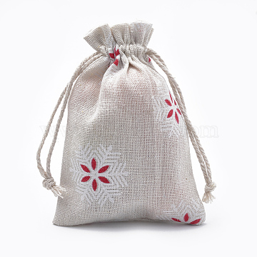 Polycotton(Polyester Cotton) Packing Pouches Drawstring Bags, with Printed Snowflake, OldLace, 14x10cm(X-ABAG-T006-A18)