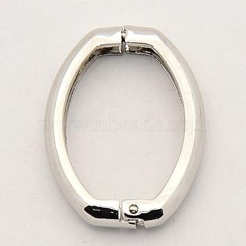 Brass Shortener Clasps, Twister Clasps, Oval Ring, Platinum, 27x20x3.5mm(KK-M004-01P)