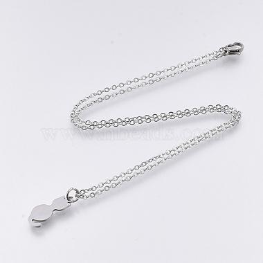 201 Stainless Steel Kitten Pendant Necklaces(NJEW-T009-JN125-40-1)-2