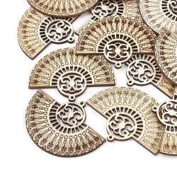 Gros pendentifs en bois non teint, fan, blé, 65x47x3mm, Trou: 1.8mm(X-WOOD-T008-32)