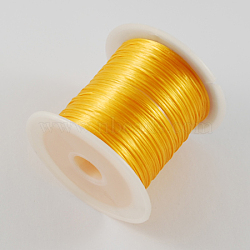 chaîne de cristal élastique plat, fil de perles élastique, pour la fabrication de bracelets élastiques, d'orange, 1 mm, 10 m / rouleau(EW-S002-13)