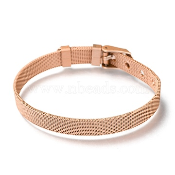 304 Stainless Steel Watch Bands, Watch Belt Fit Slide Charms, Rose Gold Plated, 8-1/2 inches(21.5cm); 8mm(WACH-P015-02J)
