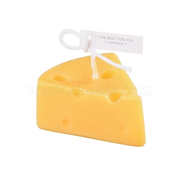 Paraffin Candles, Cheese Shaped Smokeless Candles, Decorations for Wedding, Party, and Christmas, Yellow, 68x60x32mm(DIY-D027-07)
