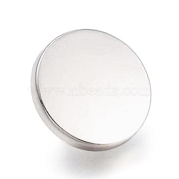 Alloy Shank Buttons, 1-Hole, Flat Round, Platinum, 20x7mm, Hole: 2mm(BUTT-D054-20mm-05P)