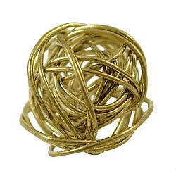 Perles de fil de fer à la main, dorée, rond, environ17 mm de diamètre, épaisseur de 17mm(X-E483Y-G)