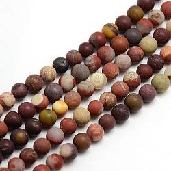 """Mookaite naturel dépoli brins de perles rondes, 8mm, trou: 1mm; environ 47~49 pcs/chapelet, 14.9~15.6""""(G-M064-8mm-11)"""