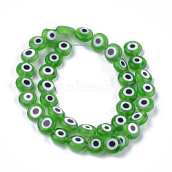 ручной сглаза бусины бисер нитей, плоские круглые, зеленый, 9.5~10.5x3.5~4 mm, отверстия: 1.2 mm; о 38 шт / прядь, 14.1(LAMP-S191-02C-02)