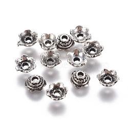 Capsules de perles en argent sterling à 6 pétale, argent antique, 5x2.5mm, Trou: 1.4mm, 25 pcs / 5 g(STER-G029-18AS)