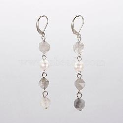 Boucles d'oreilles dormeuses en quartz nuageux naturel, facette, avec perles nacrées, accessoires en fer et accessoires de dormeuse en laiton, 70mm, pendentif: 53~54x7~9 mm(EJEW-JE02822-05)