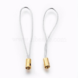 Нейлоновый шнур мобильные ремни, с фурнитурой латунной золотого тона, серебряные, 50x4 мм; отверстие: 1.8 мм(MOBA-F005-03G-05)