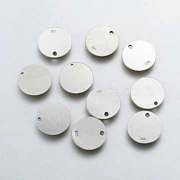 925 Sterling Silver Charms, Flat Round Carved 925, Platinum, 12x1mm, Hole: 1mm(X-STER-K037-048C)