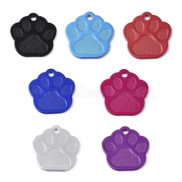 Aluminum Pendants, Blank Tags, Dog Paw Prints, Mixed Color, 28.5x27x1mm, Hole: 3mm(ALUM-WH0009-04)