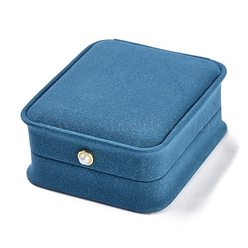Imitation Leather Pendant Gift Boxes, with Acrylic Pearl, for Wedding, Jewelry Storage Case, Rectangle, Cornflower Blue, 3-1/4x2-7/8x1-1/2 inch(8.25x7.4x3.9cm)(LBOX-A002-02A)