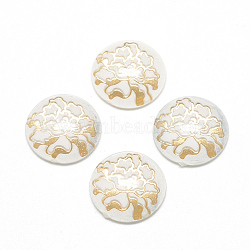 Transparent UV Printed Acrylic Cabochons, with Spray Paint Bottom, Half Round/Dome, Flower Theme, White, 16x5mm(X-TACR-Q242-16mm-002)